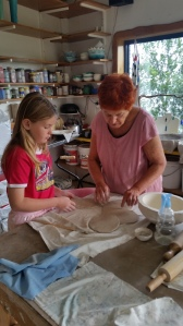 Faith with Kay Olgivy creating a large bowl